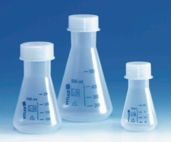 Wide-mouth-Erlenmeyer flasks, PP, with screw neck